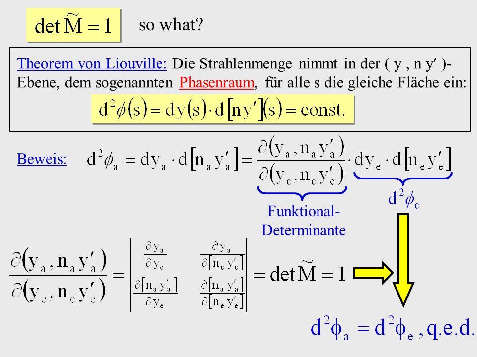 so what? Theorem von Liouville: Die Strahlenmenge nimmt in der ( y, n y )- Ebene, dem sogenannten Phasenraum, für alle s die gleiche Fläche ein: Bewei
