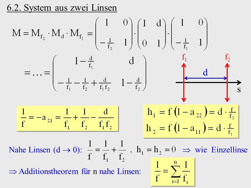 6.2. System aus zwei Linsen s f1f1 f2f2 d Nahe Linsen (d 0): wie Einzellinse Additionstheorem für n nahe Linsen: