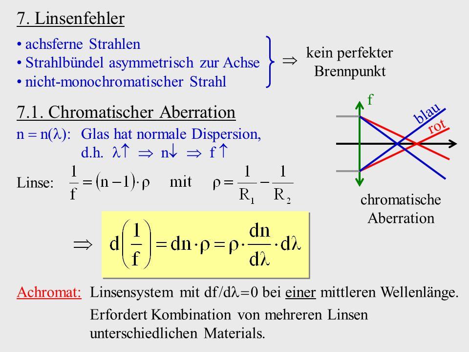 7. Linsenfehler achsferne Strahlen Strahlbündel asymmetrisch zur Achse nicht-monochromatischer Strahl 7.1. Chromatischer Aberration n n : Glas hat nor