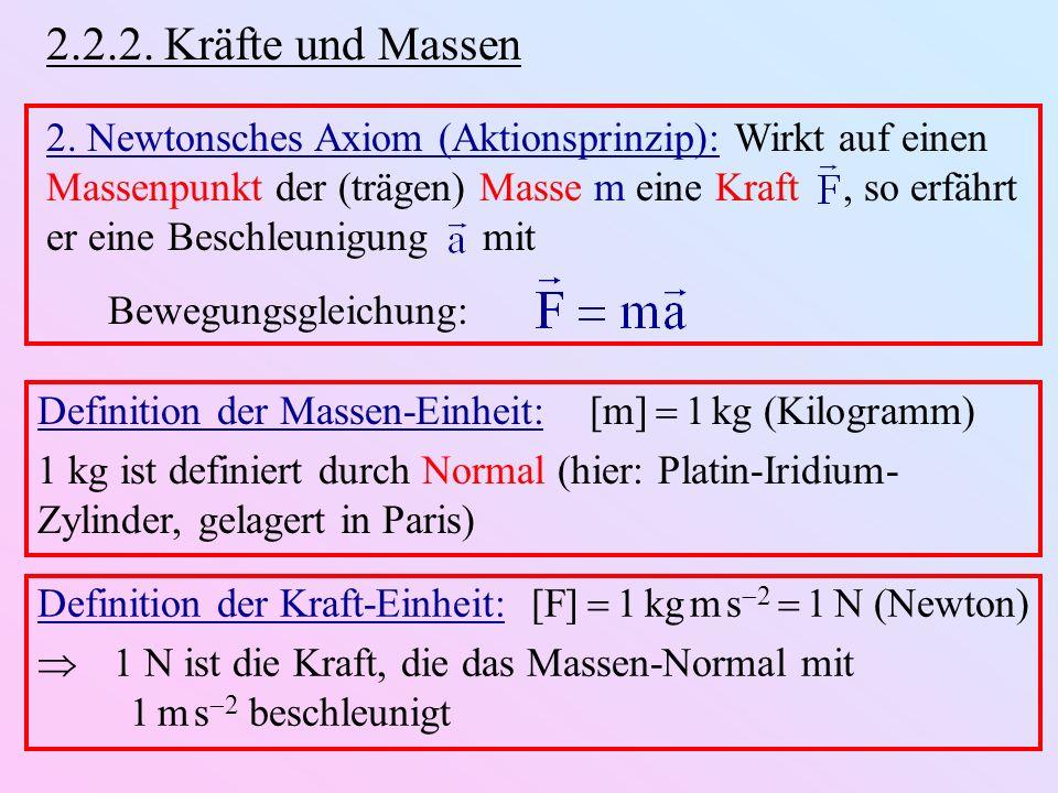 2.2.2. Kräfte und Massen 2. Newtonsches Axiom (Aktionsprinzip): Wirkt auf einen Massenpunkt der (trägen) Masse m eine Kraft, so erfährt er eine Beschl