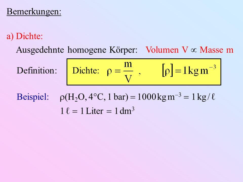 Bemerkungen: a)Dichte: Ausgedehnte homogene Körper: Volumen V Masse m Definition: Dichte: Beispiel: (H 2 O, 4 C, 1 bar) 1000 kg m 3 1 kg 1 1 Liter 1 d
