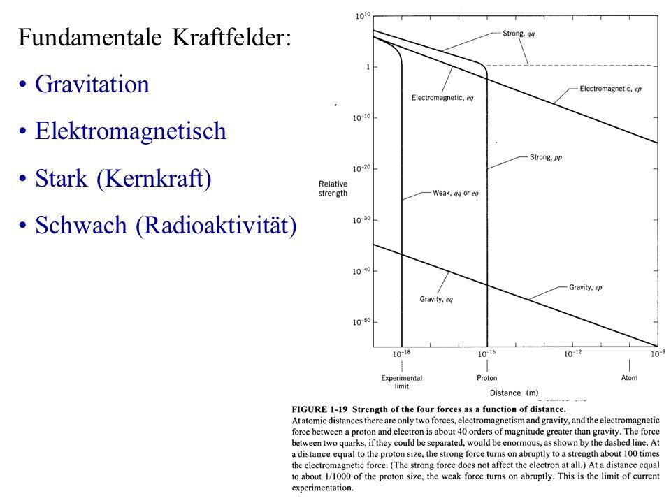 Fundamentale Kraftfelder: Gravitation Elektromagnetisch Stark (Kernkraft) Schwach (Radioaktivität)