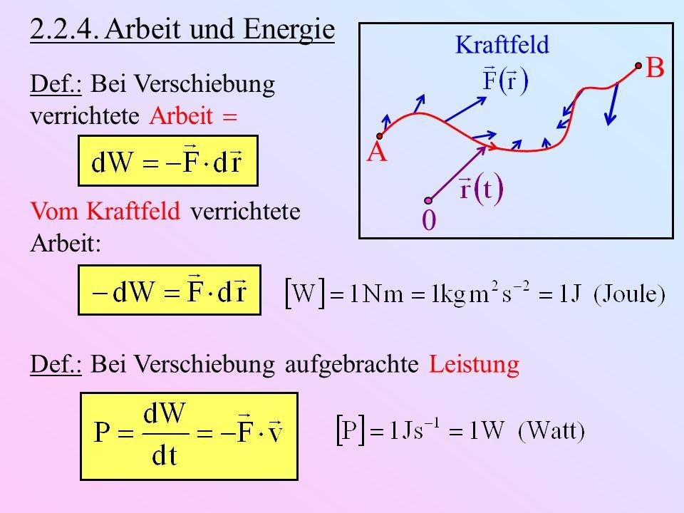 2.2.4. Arbeit und Energie A B 0 Kraftfeld Def.: Bei Verschiebung verrichtete Arbeit Vom Kraftfeld verrichtete Arbeit: Def.: Bei Verschiebung aufgebrac