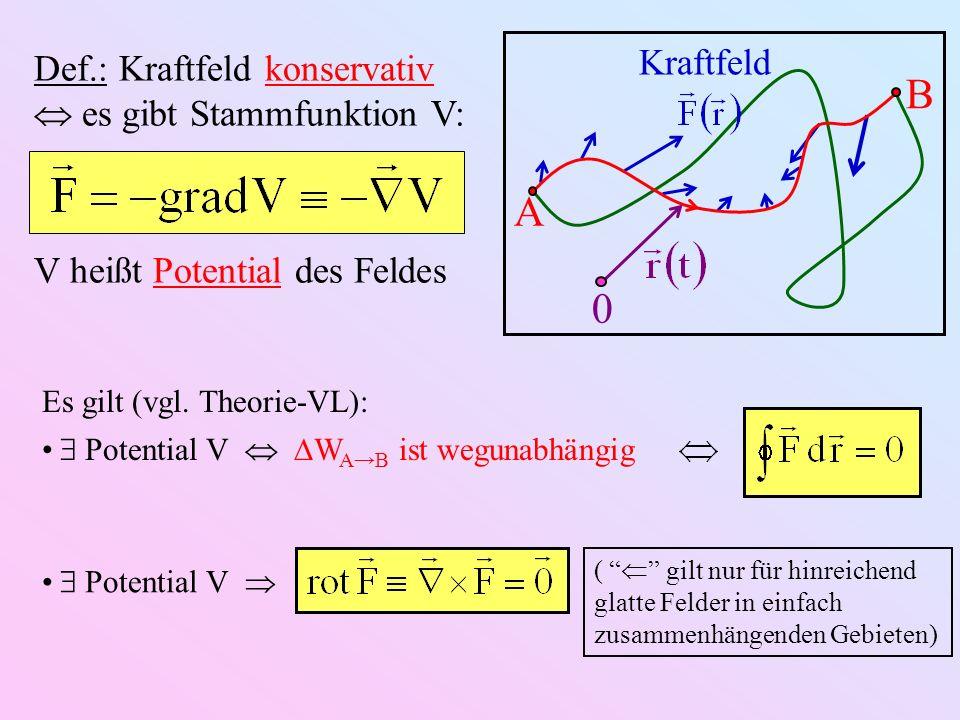 A B 0 Kraftfeld Def.: Kraftfeld konservativ es gibt Stammfunktion V: V heißt Potential des Feldes Es gilt (vgl. Theorie-VL): Potential V W AB ist wegu