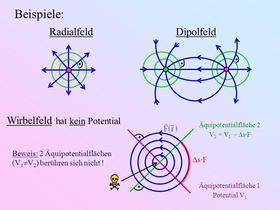 Beispiele: Wirbelfeld hat kein Potential Radialfeld Dipolfeld Beweis: 2 Äquipotentialflächen (V 1 V 2 ) berühren sich nicht ! Äquipotentialfläche 2 V