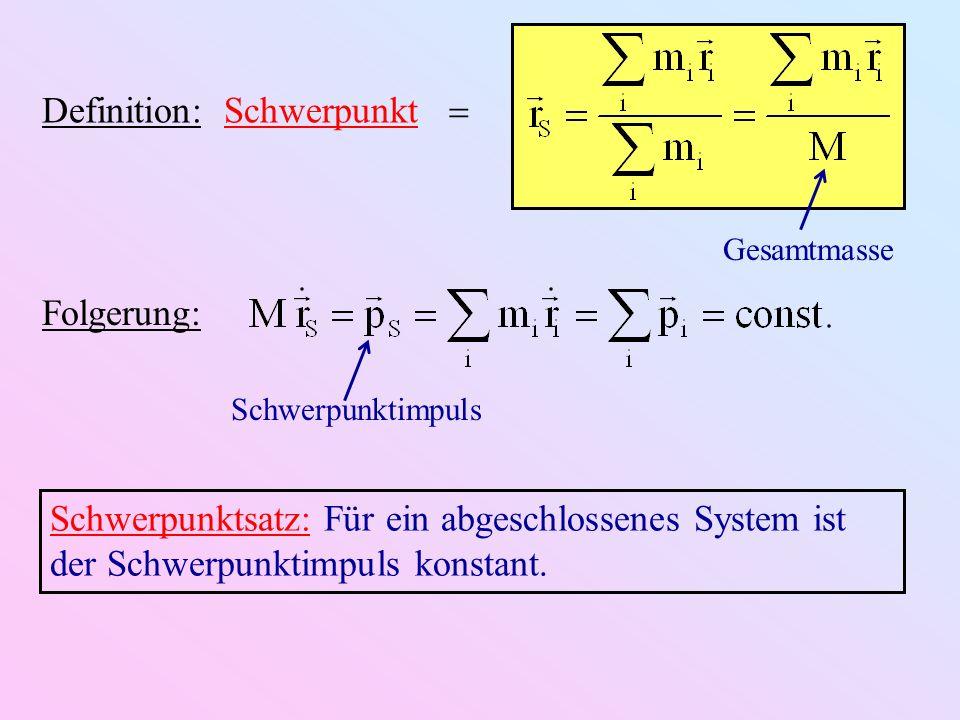 Definition: Schwerpunkt Gesamtmasse Schwerpunktsatz: Für ein abgeschlossenes System ist der Schwerpunktimpuls konstant. Folgerung: Schwerpunktimpuls