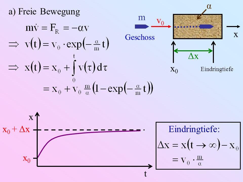 a) Freie Bewegung m v0v0 x α Geschoss x0x0 Eindringtiefe Δx t x x 0 + Δx x0x0 Eindringtiefe:
