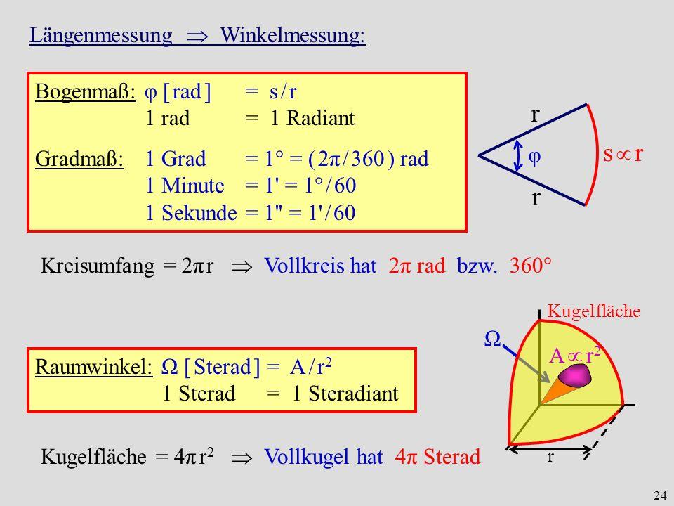 24 Längenmessung Winkelmessung: Bogenmaß: φ [ rad ] = s / r 1 rad = 1 Radiant Gradmaß:1 Grad = 1° = ( 2π / 360 ) rad 1 Minute = 1' = 1° / 60 1 Sekunde