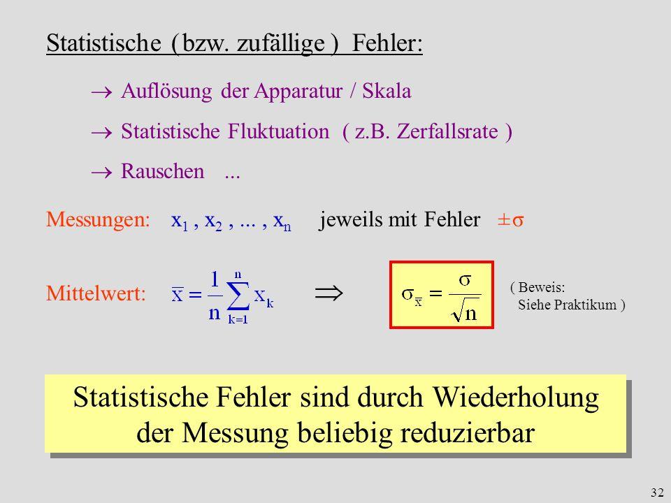 32 Statistische ( bzw. zufällige ) Fehler: Auflösung der Apparatur / Skala Statistische Fluktuation ( z.B. Zerfallsrate ) Rauschen... Messungen: x 1,