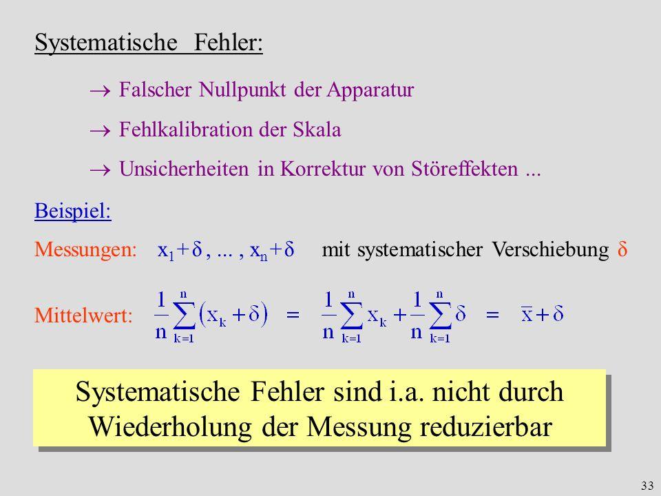 33 Systematische Fehler: Falscher Nullpunkt der Apparatur Fehlkalibration der Skala Unsicherheiten in Korrektur von Störeffekten... Messungen: x 1 + δ