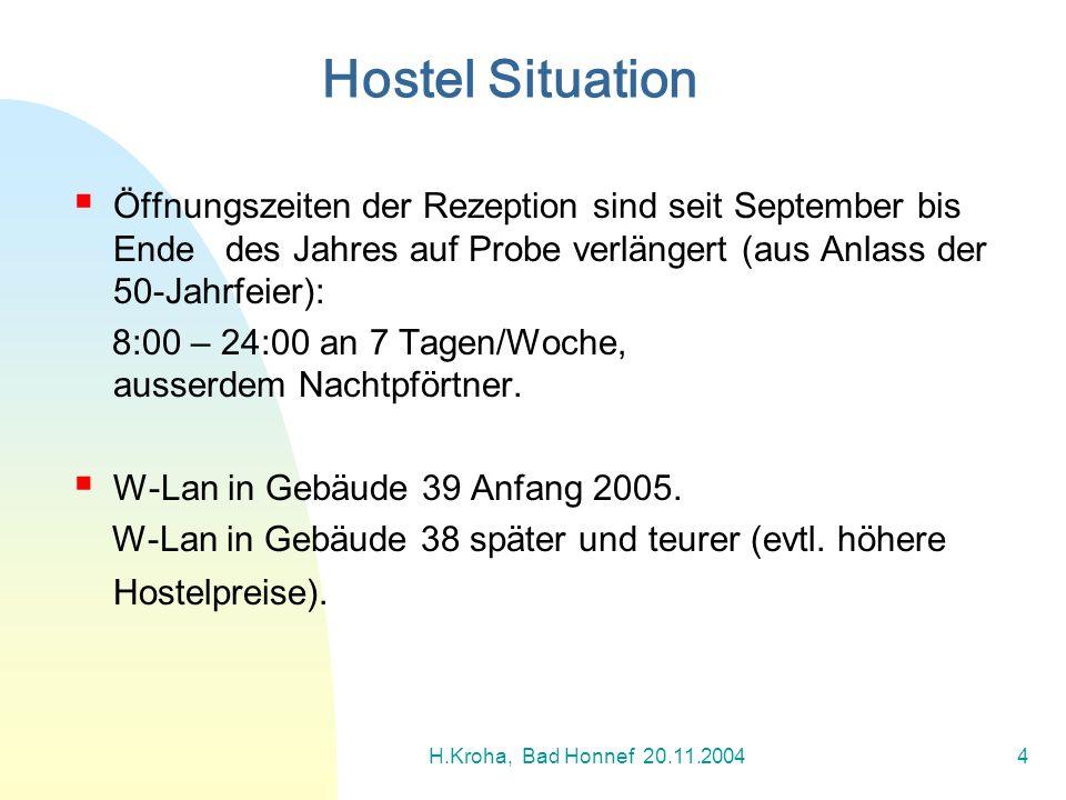 H.Kroha, Bad Honnef 20.11.20045 Langandauernde Diskussion über die optimale Auslastung der Hostels (75% in 2001-02).