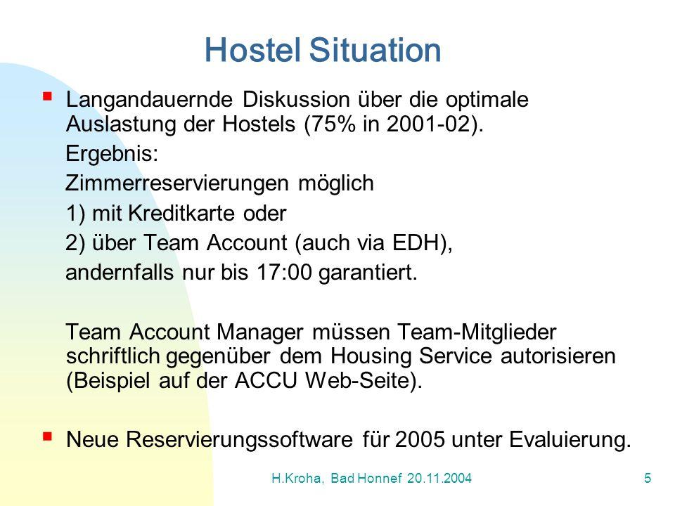 H.Kroha, Bad Honnef 20.11.20045 Langandauernde Diskussion über die optimale Auslastung der Hostels (75% in 2001-02). Ergebnis: Zimmerreservierungen mö