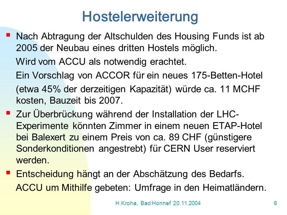 H.Kroha, Bad Honnef 20.11.20046 Nach Abtragung der Altschulden des Housing Funds ist ab 2005 der Neubau eines dritten Hostels möglich. Wird vom ACCU a