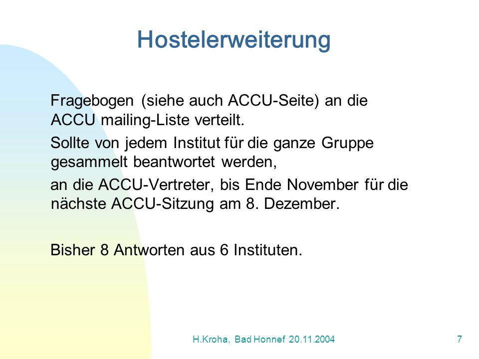 H.Kroha, Bad Honnef 20.11.20047 Fragebogen (siehe auch ACCU-Seite) an die ACCU mailing-Liste verteilt. Sollte von jedem Institut für die ganze Gruppe