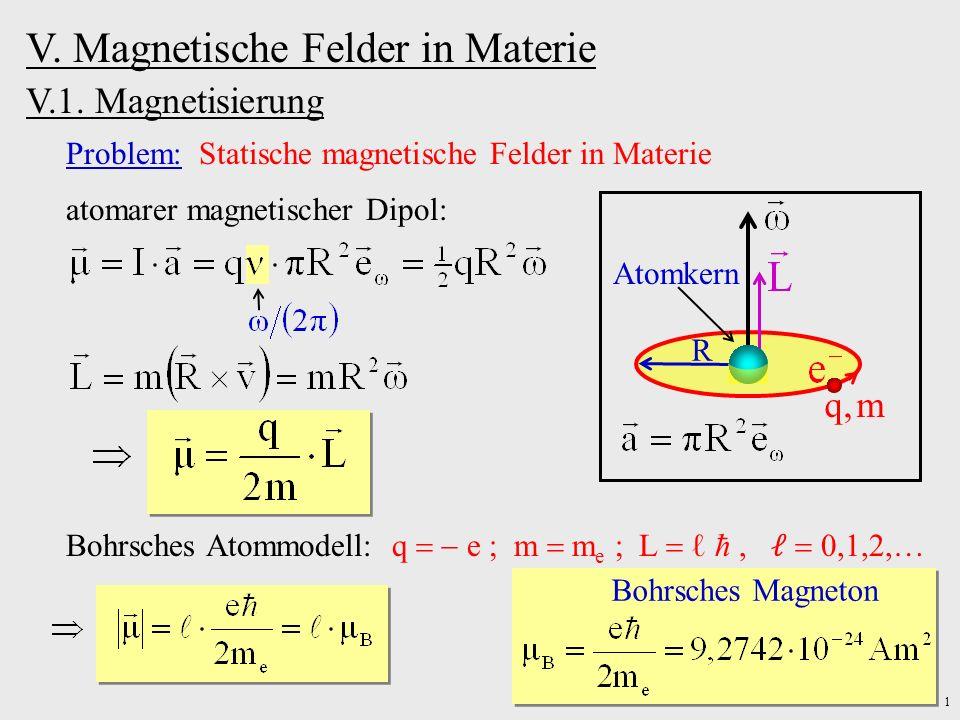 1 V. Magnetische Felder in Materie V.1. Magnetisierung Problem: Statische magnetische Felder in Materie atomarer magnetischer Dipol: q, m R Atomkern B