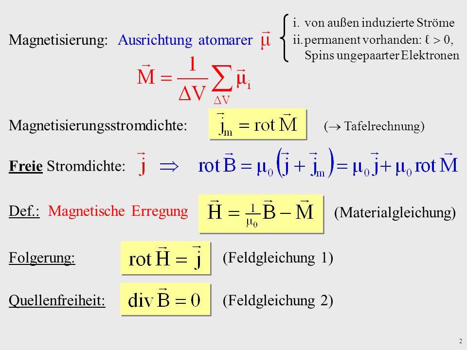2 Def.: Magnetische Erregung (Materialgleichung) Folgerung:(Feldgleichung 1) Magnetisierung: Ausrichtung atomarer i.von außen induzierte Ströme ii.per