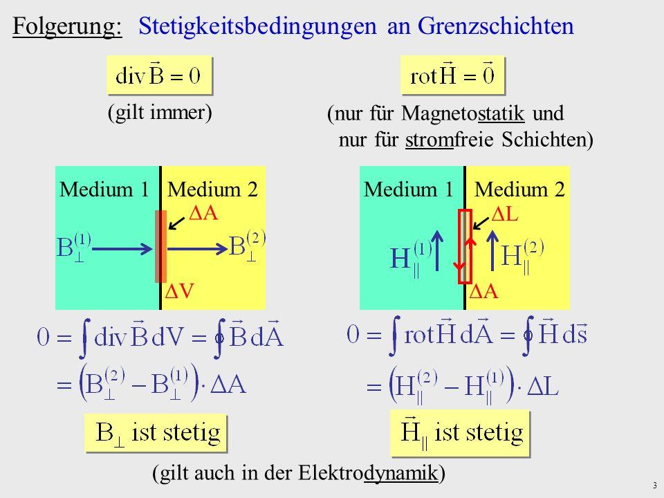 3 Folgerung: Stetigkeitsbedingungen an Grenzschichten (gilt immer) (nur für Magnetostatik und nur für stromfreie Schichten) Medium 1Medium 2 V A Mediu