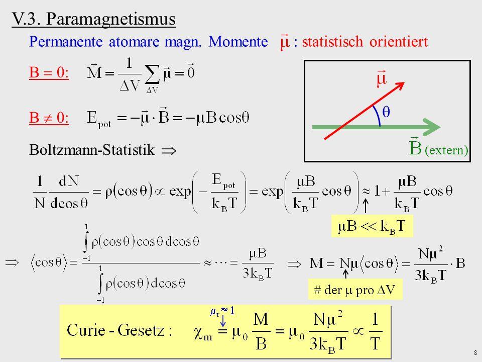 8 Permanente atomare magn. Momente : statistisch orientiert B 0: (extern) Boltzmann-Statistik der pro V r V.3. Paramagnetismus