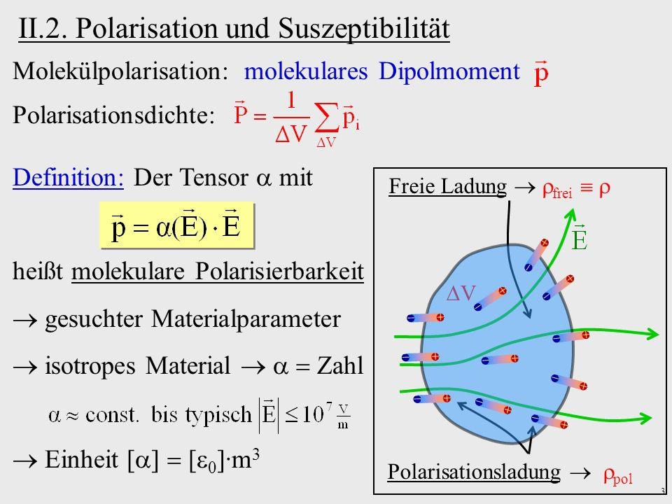 4 Polarisationsdichte: Freie Ladung frei Polarisationsladung pol V Definition: Der Tensor heißt dielektrische Suszeptibilität.
