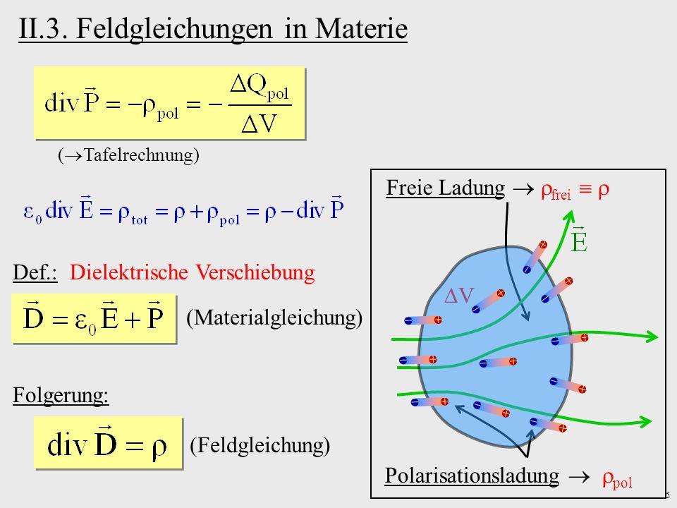 6 Folgerung: Stetigkeitsbedingungen an Grenzschichten (nur für ungeladene Schichten)(nur für Elektrostatik) Medium 1Medium 2 V A Medium 1Medium 2 A L (gilt auch in der Elektrodynamik)