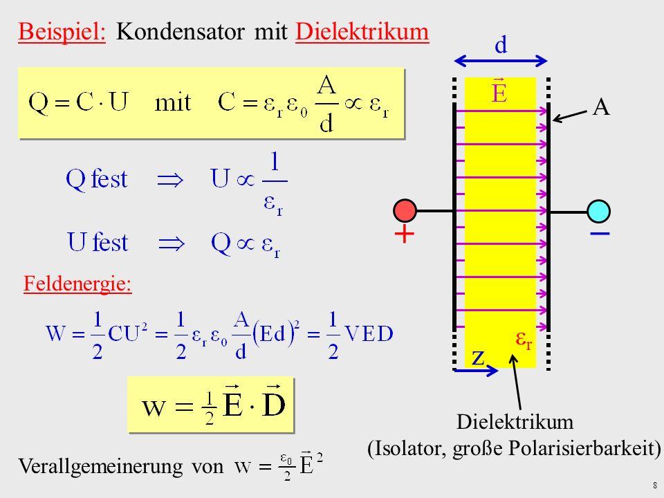 9 Kraft auf ein Dielektrikum: Steigen/Sinken der Flüssigkeitssäule um dh Änderung der potentiellen Energie h fl U V(h) r d Feld: Batterie: mech.