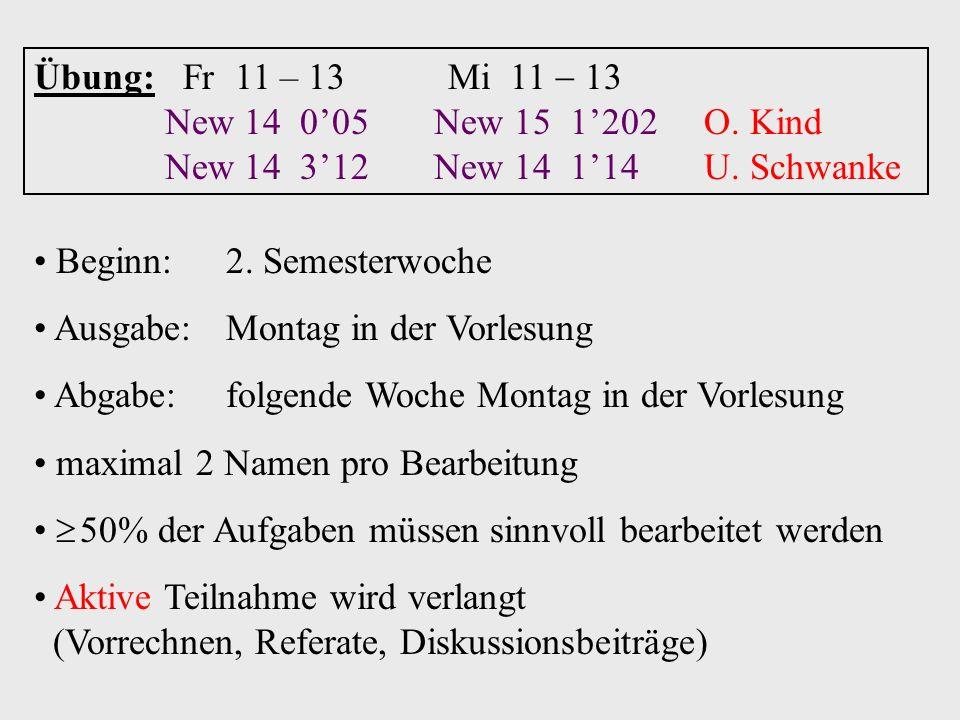 Übung: Fr 11 – 13 Mi 11 13 New 14 005 New 15 1202 O. Kind New 14 312 New 14 114 U. Schwanke Beginn:2. Semesterwoche Ausgabe:Montag in der Vorlesung Ab