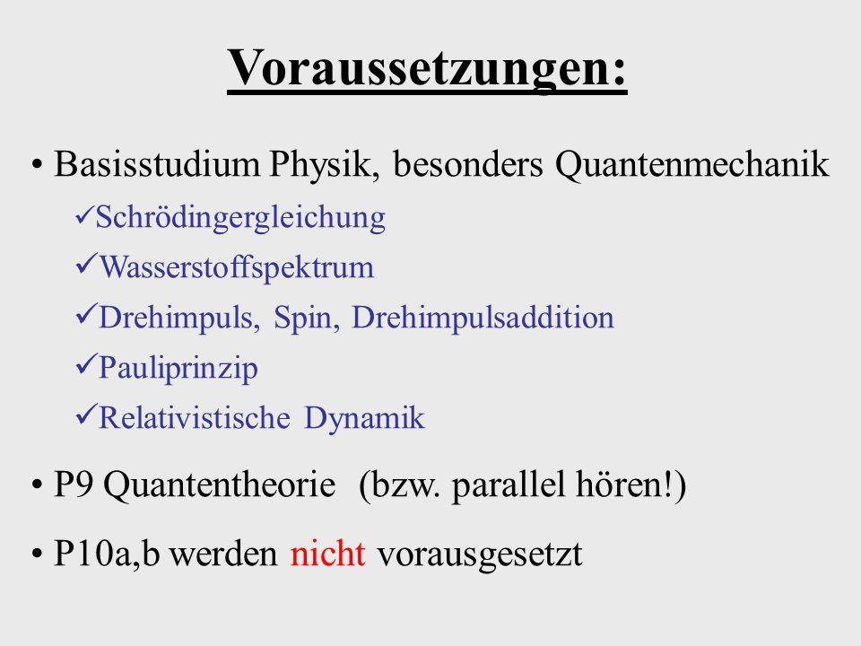 Voraussetzungen: Basisstudium Physik, besonders Quantenmechanik Schrödingergleichung Wasserstoffspektrum Drehimpuls, Spin, Drehimpulsaddition Paulipri