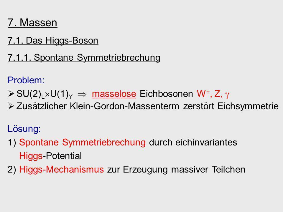 7. Massen 7.1. Das Higgs-Boson 7.1.1. Spontane Symmetriebrechung Problem: SU(2) L U(1) Y masselose Eichbosonen W, Z, Zusätzlicher Klein-Gordon-Massent