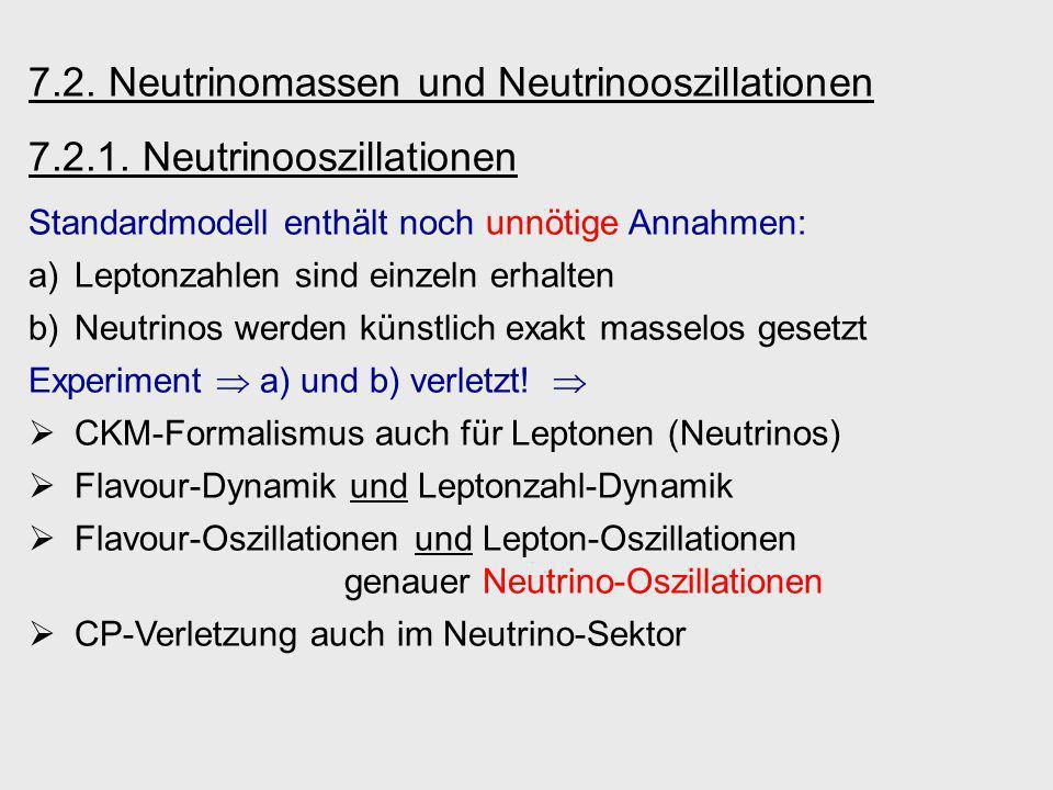 7.2. Neutrinomassen und Neutrinooszillationen 7.2.1. Neutrinooszillationen Standardmodell enthält noch unnötige Annahmen: a)Leptonzahlen sind einzeln