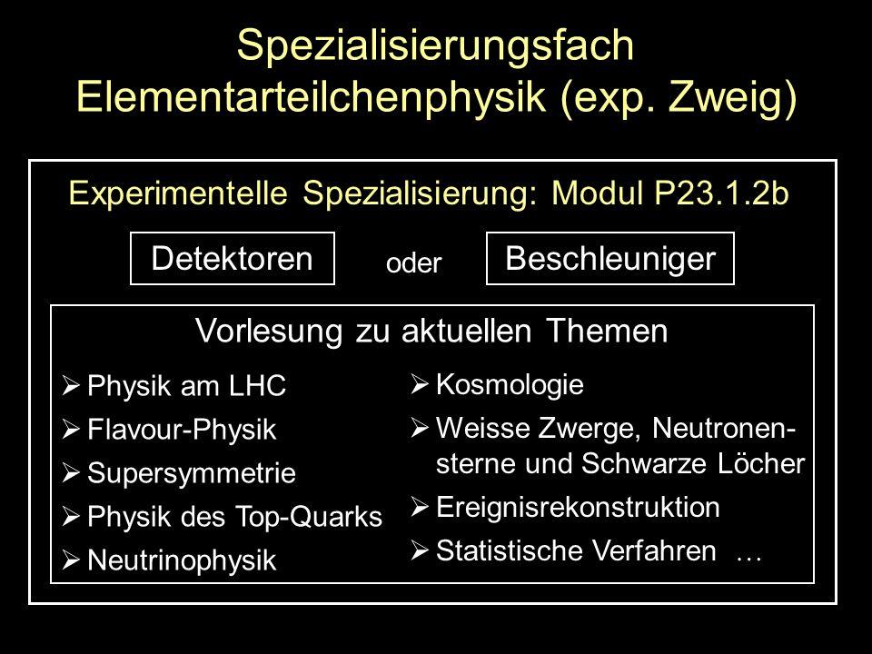 Spezialisierungsfach Elementarteilchenphysik (exp.
