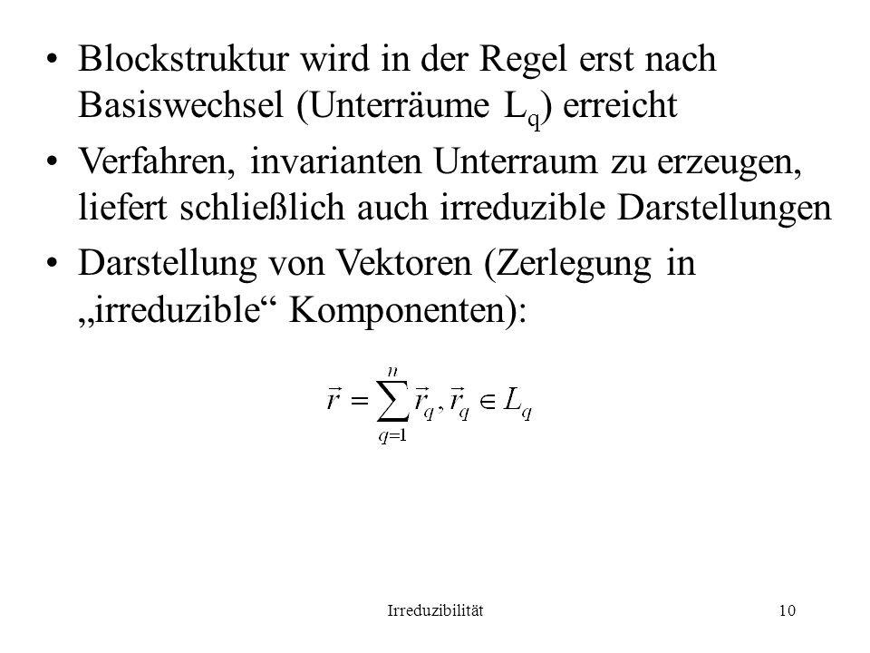 Irreduzibilität10 Blockstruktur wird in der Regel erst nach Basiswechsel (Unterräume L q ) erreicht Verfahren, invarianten Unterraum zu erzeugen, liefert schließlich auch irreduzible Darstellungen Darstellung von Vektoren (Zerlegung in irreduzible Komponenten):