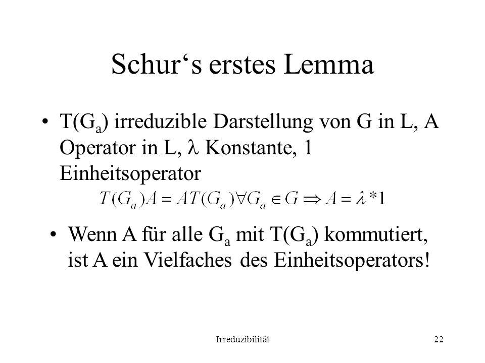 Irreduzibilität22 Schurs erstes Lemma T(G a ) irreduzible Darstellung von G in L, A Operator in L, Konstante, 1 Einheitsoperator Wenn A für alle G a mit T(G a ) kommutiert, ist A ein Vielfaches des Einheitsoperators!