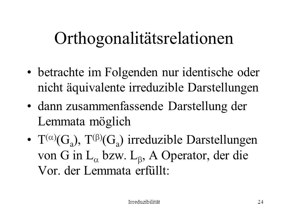 Irreduzibilität24 Orthogonalitätsrelationen betrachte im Folgenden nur identische oder nicht äquivalente irreduzible Darstellungen dann zusammenfassende Darstellung der Lemmata möglich T ( ) (G a ), T ( ) (G a ) irreduzible Darstellungen von G in L bzw.