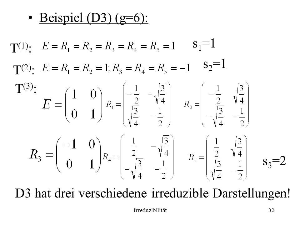 Irreduzibilität32 Beispiel (D3) (g=6): T (1) : s 1 =1 T (2) : s 2 =1 T (3) : s 3 =2 D3 hat drei verschiedene irreduzible Darstellungen!