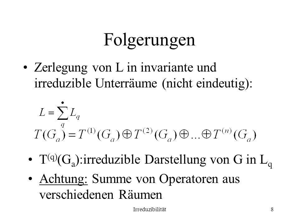 Irreduzibilität8 Folgerungen Zerlegung von L in invariante und irreduzible Unterräume (nicht eindeutig): T (q) (G a ):irreduzible Darstellung von G in L q Achtung: Summe von Operatoren aus verschiedenen Räumen