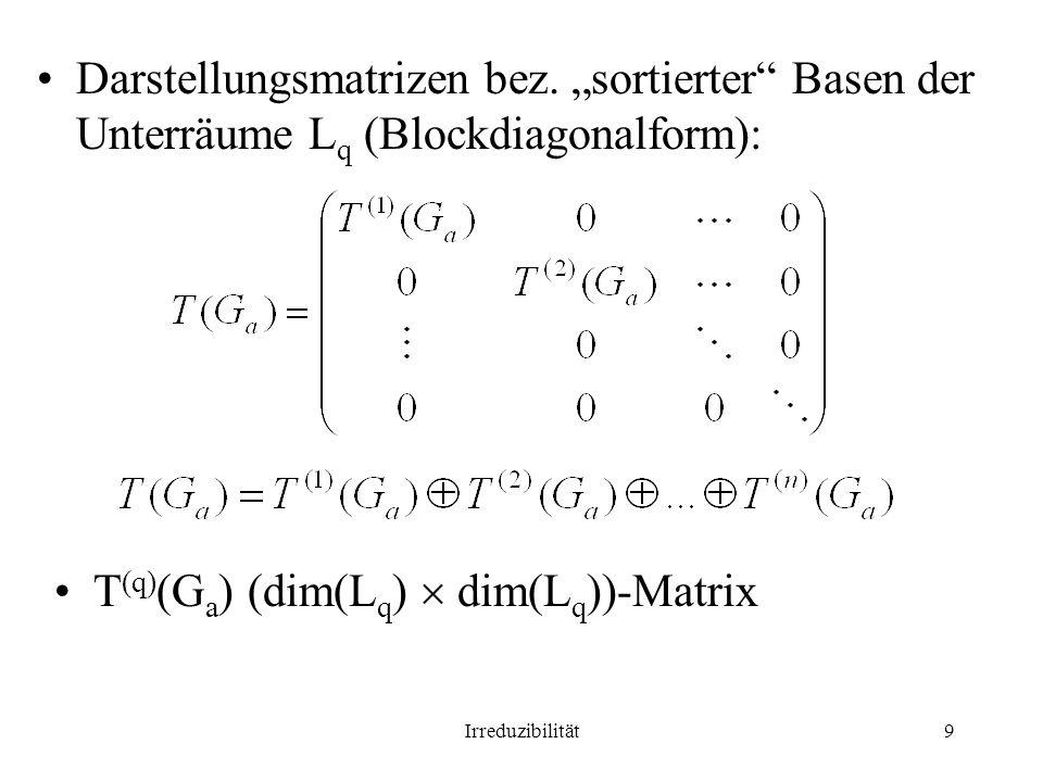 Irreduzibilität9 Darstellungsmatrizen bez. sortierter Basen der Unterräume L q (Blockdiagonalform): T (q) (G a ) (dim(L q ) dim(L q ))-Matrix