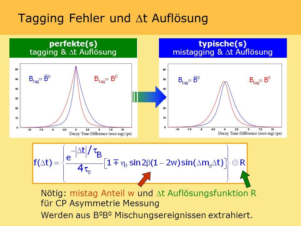 perfekte(s) tagging & t Auflösung typische(s) mistagging & t Auflösung Nötig: mistag Anteil w und t Auflösungsfunktion R für CP Asymmetrie Messung Werden aus B 0 B 0 Mischungsereignissen extrahiert.
