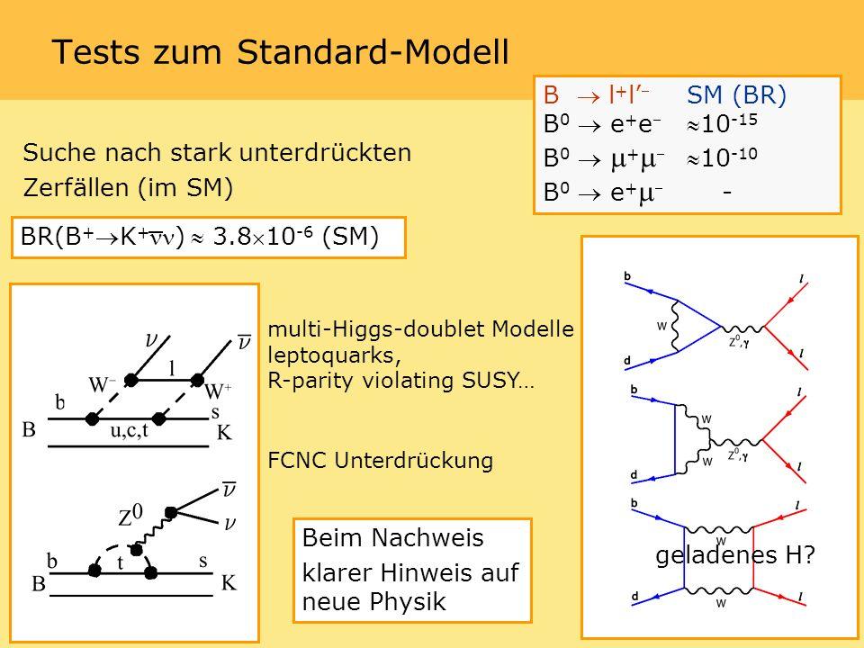 Tests zum Standard-Modell geladenes H.
