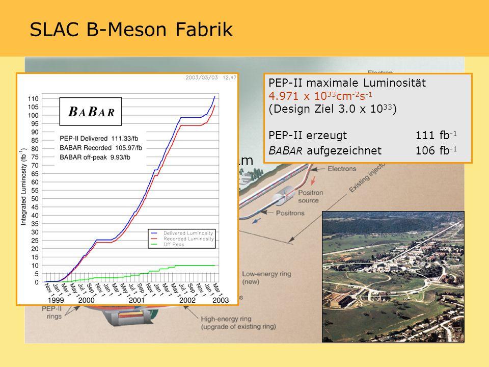 PEP-II maximale Luminosität 4.971 x 10 33 cm -2 s -1 (Design Ziel 3.0 x 10 33 ) PEP-II erzeugt 111 fb -1 B A B AR aufgezeichnet106 fb -1 SLAC B-Meson Fabrik 9 GeV e - on 3.1 GeV e + Boost = 0.55 IP beam size 147 m x 5 m