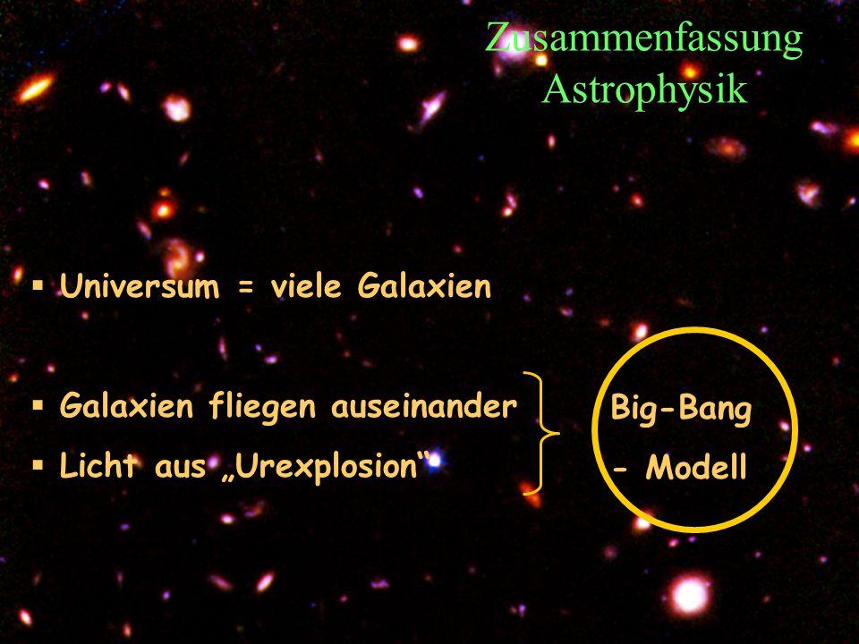 T.Hebbeker Zusammenfassung Astrophysik Universum = viele Galaxien Galaxien fliegen auseinander Licht aus Urexplosion Big-Bang - Modell