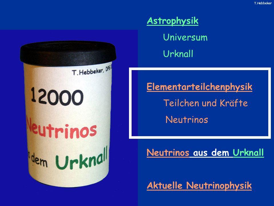 T.Hebbeker Astrophysik Universum Urknall Elementarteilchenphysik Teilchen und Kräfte Neutrinos Neutrinos aus dem Urknall Aktuelle Neutrinophysik