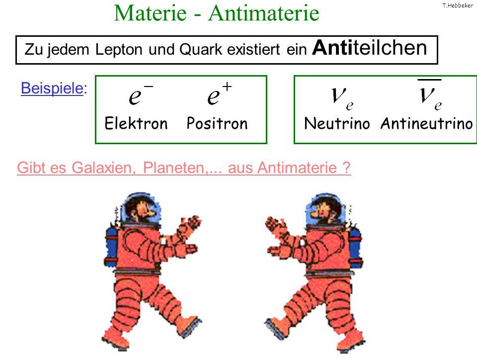 T.Hebbeker Materie - Antimaterie Elektron Positron Neutrino Antineutrino Zu jedem Lepton und Quark existiert ein Antiteilchen Beispiele: Gibt es Galax