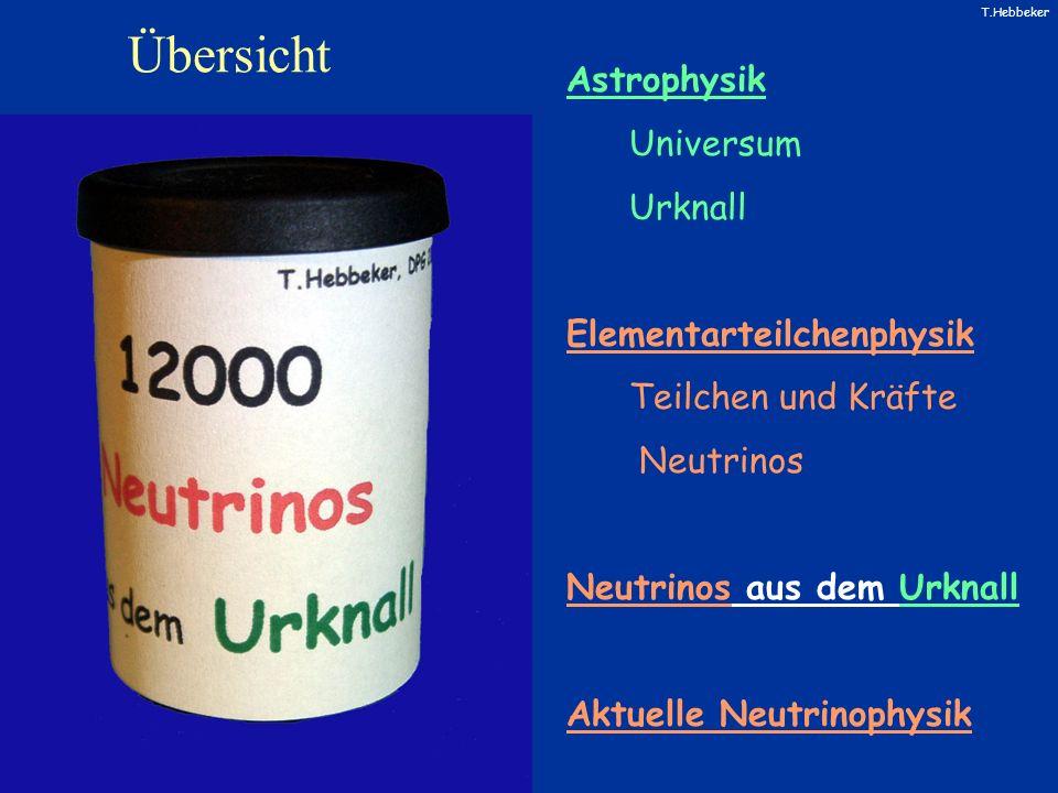 T.Hebbeker Übersicht Astrophysik Universum Urknall Elementarteilchenphysik Teilchen und Kräfte Neutrinos Neutrinos aus dem Urknall Aktuelle Neutrinoph