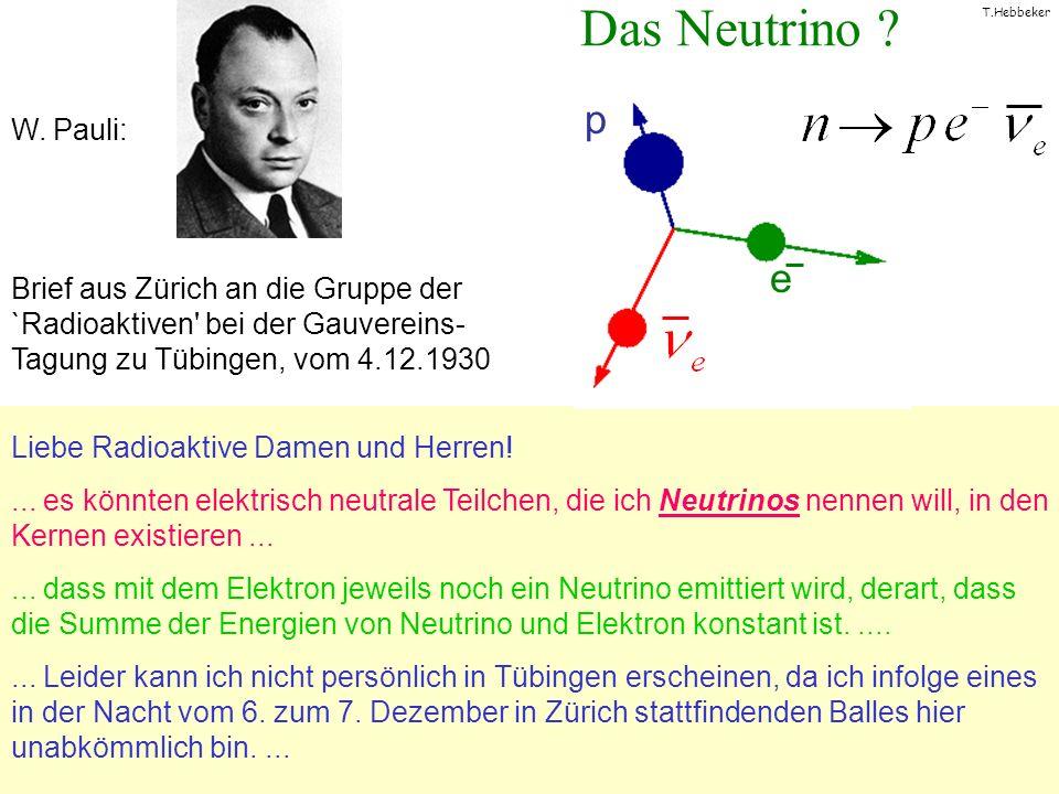 T.Hebbeker Das Neutrino ? Liebe Radioaktive Damen und Herren!... es könnten elektrisch neutrale Teilchen, die ich Neutrinos nennen will, in den Kernen