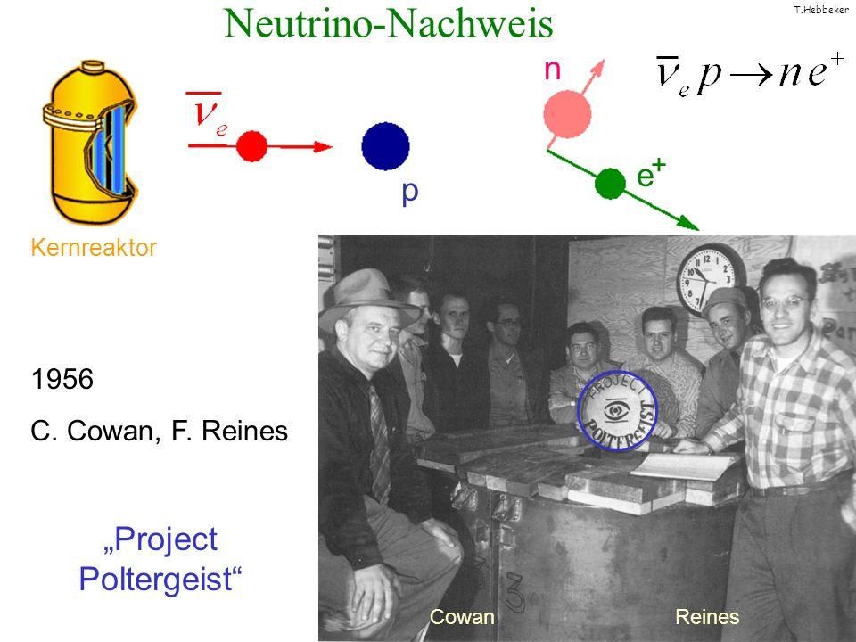 T.Hebbeker Neutrino-Nachweis Cowan Reines 1956 C. Cowan, F. Reines Project Poltergeist Kernreaktor p n e +