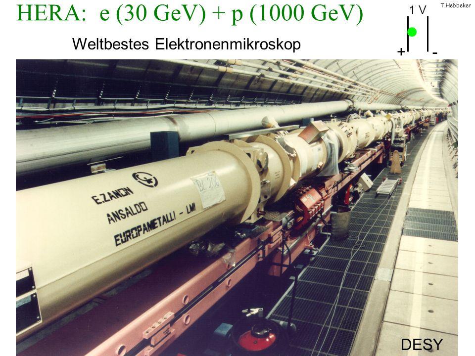 T.Hebbeker HERA: e (30 GeV) + p (1000 GeV) Weltbestes Elektronenmikroskop + - DESY 1 V