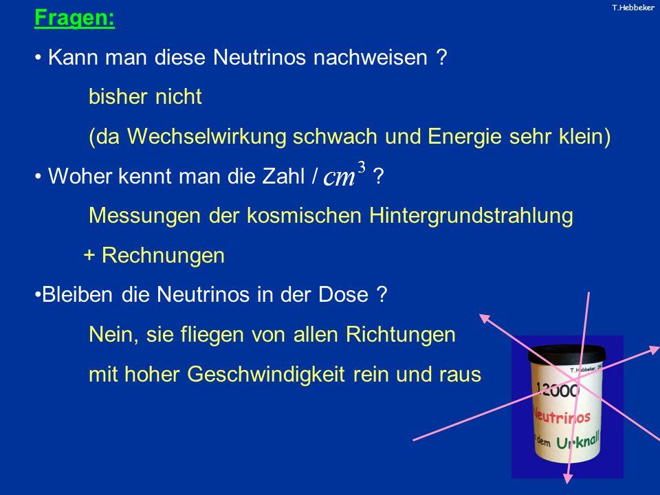 T.Hebbeker Fragen: Kann man diese Neutrinos nachweisen ? bisher nicht (da Wechselwirkung schwach und Energie sehr klein) Woher kennt man die Zahl / ?