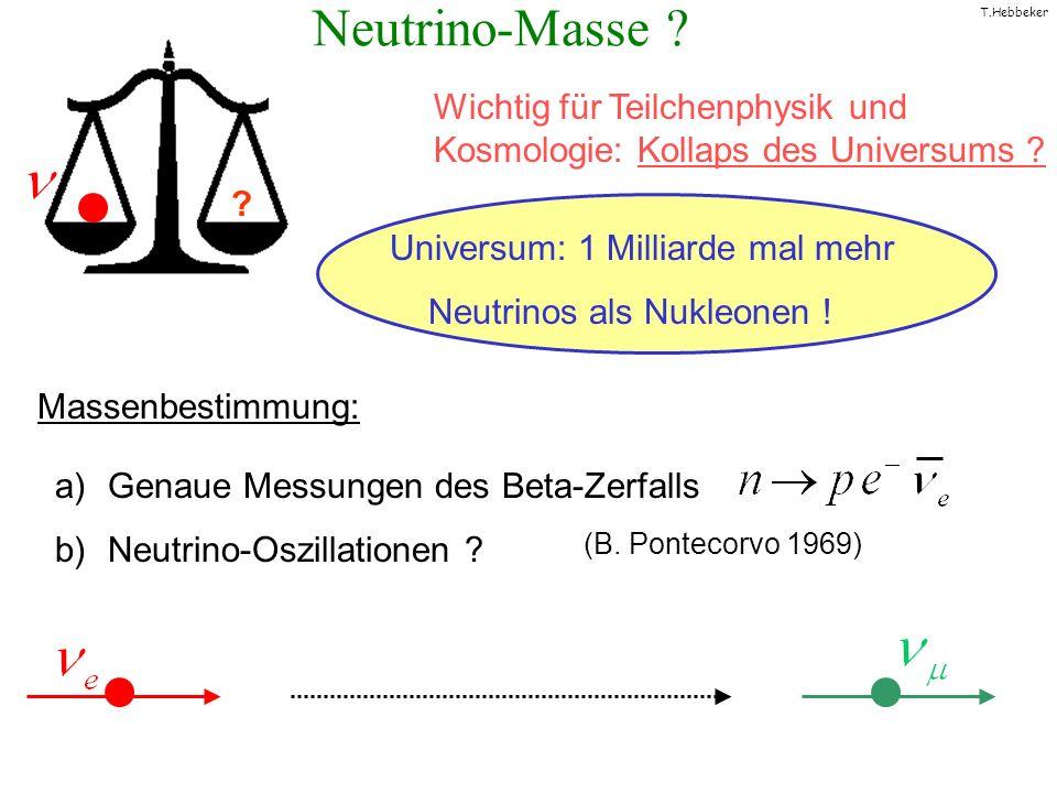 T.Hebbeker Neutrino-Masse ? Wichtig für Teilchenphysik und Kosmologie: Kollaps des Universums ? ? Universum: 1 Milliarde mal mehr Neutrinos als Nukleo