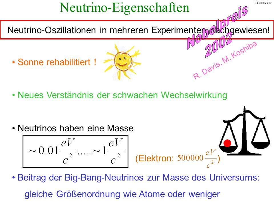 T.Hebbeker Sonne rehabilitiert ! Neues Verständnis der schwachen Wechselwirkung Neutrinos haben eine Masse Beitrag der Big-Bang-Neutrinos zur Masse de