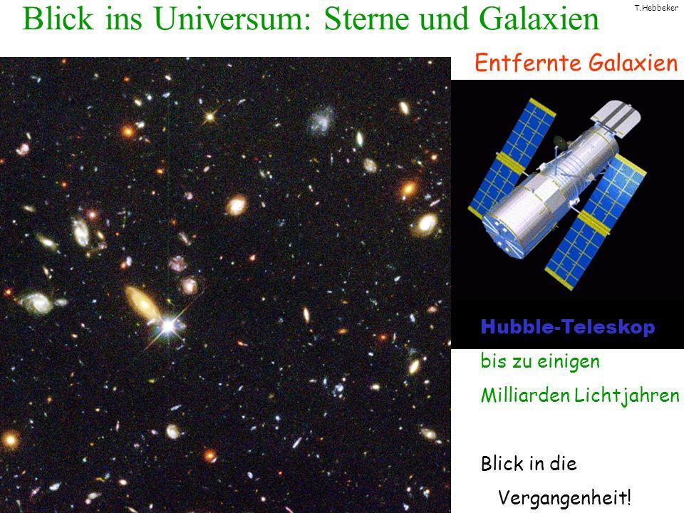 T.Hebbeker Blick ins Universum: Sterne und Galaxien Hubble-Teleskop bis zu einigen Milliarden Lichtjahren Blick in die Vergangenheit! Entfernte Galaxi